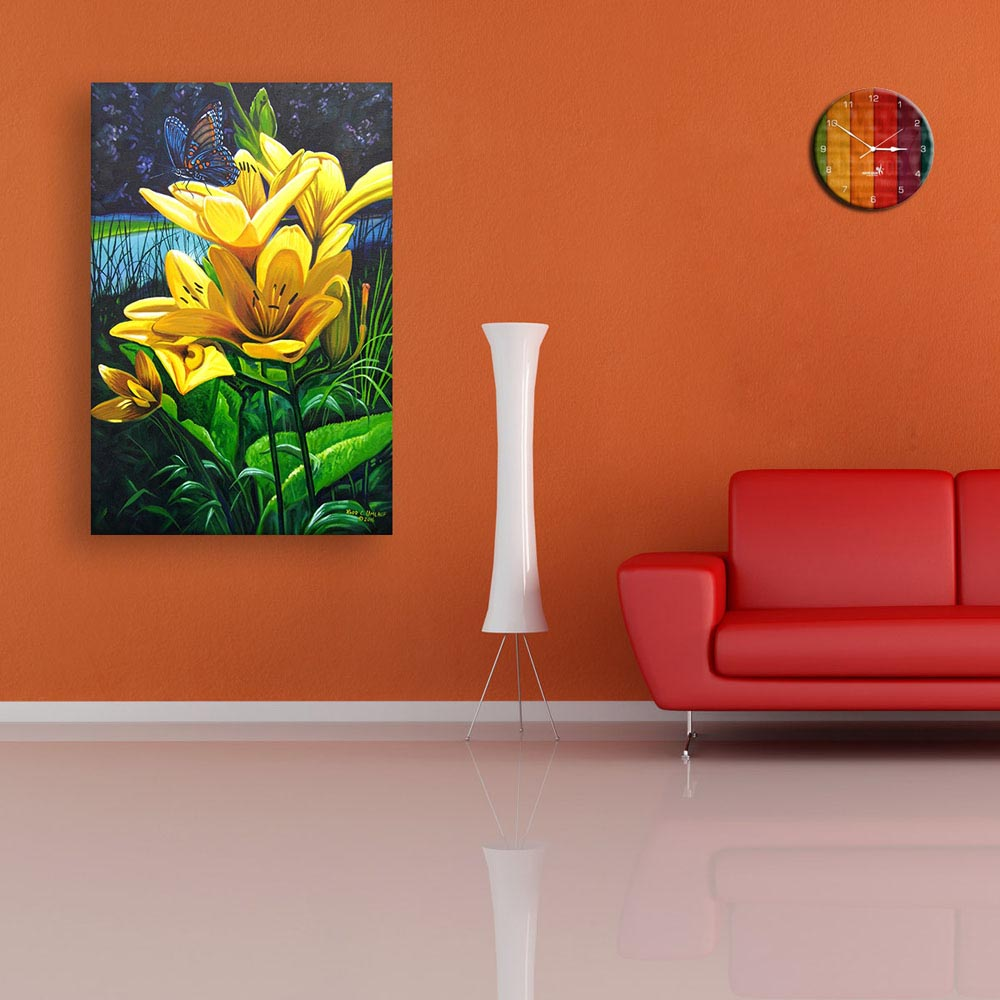 Wall Paintings For Living Room Of Canvas Painting Beautiful Floral
