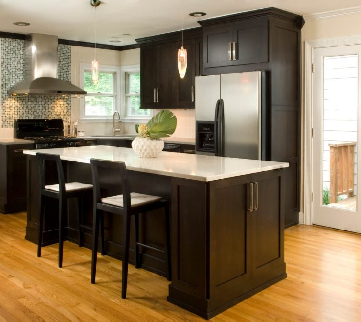 White Kitchen S With Black S Of High Contrast Wall Dark Wood Paneling