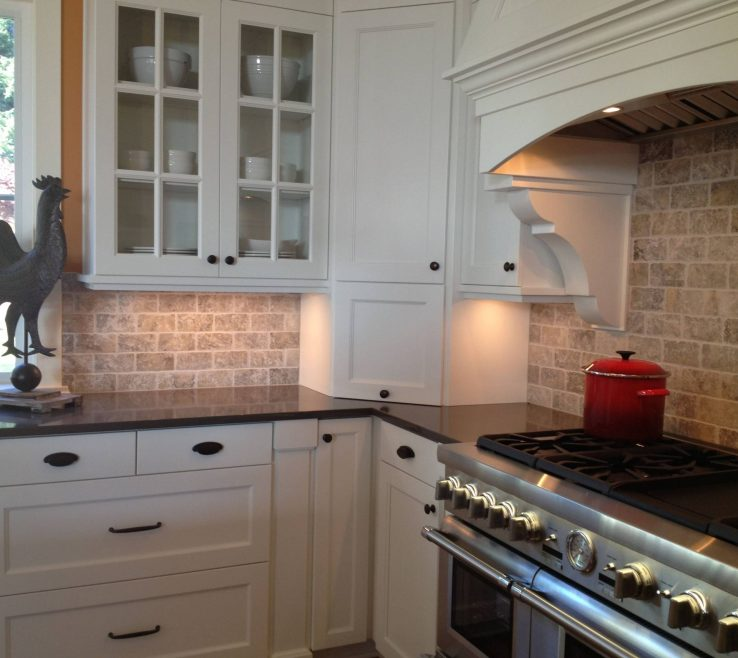 White Kitchen S With Black S Of Picture Of Travertine Backsplash And