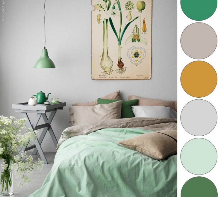 Wonderful Bedroom Color Palette Of Ikea Green Mustard Grey More