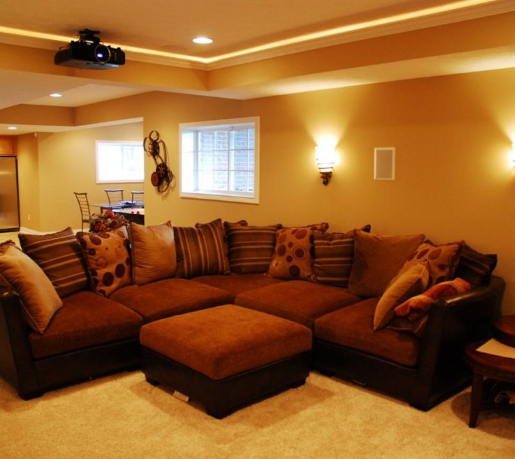 Wonderful Living Room Wall Sconce Ideas Of Brilliant Dark Brown Sectional Sofa Presented