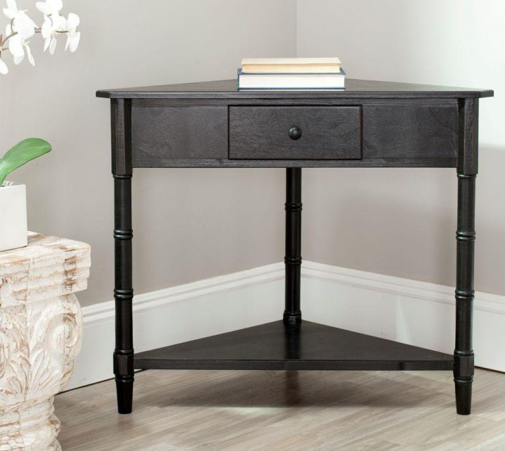 Adorable Contemporary Console Table With Drawers Of Safavieh Gomez Distressed Black Storage