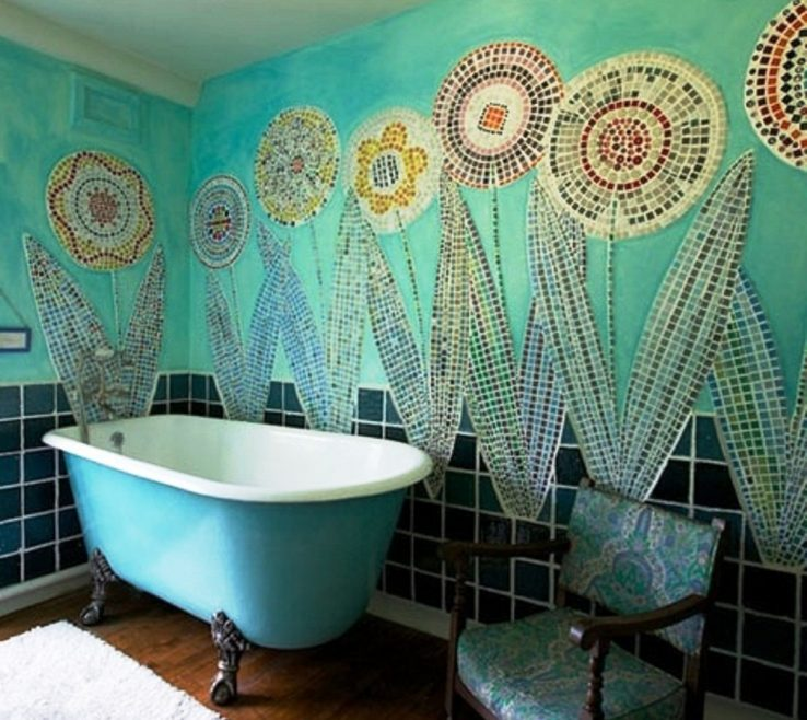 Adorable Green And Turquoise Decor Of Bathroom Bathroom With Unique Wall The Reasons