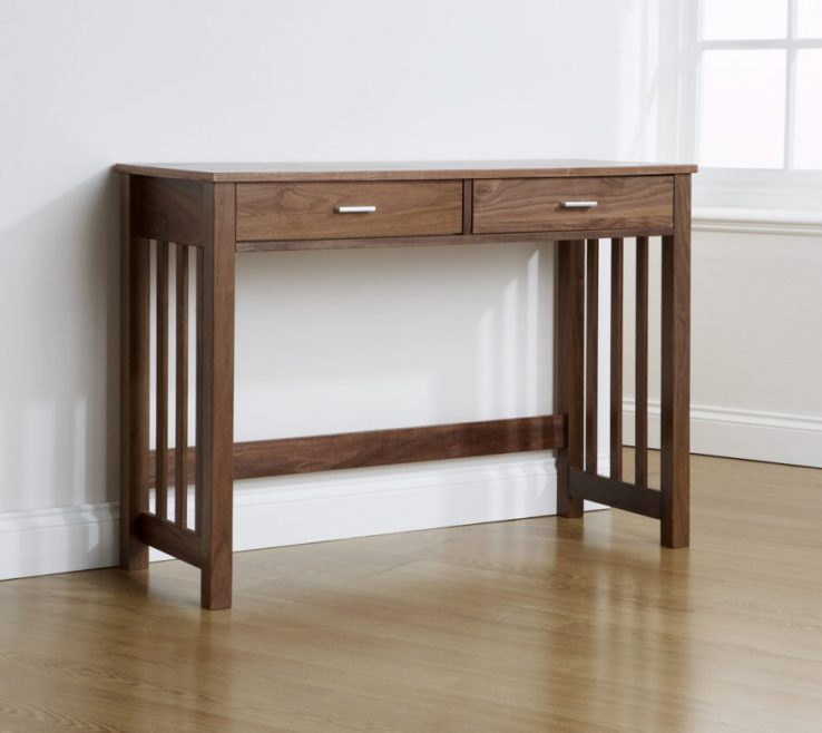 Alluring Contemporary Console Table With Drawers Of Design Wooden Cherry Wood
