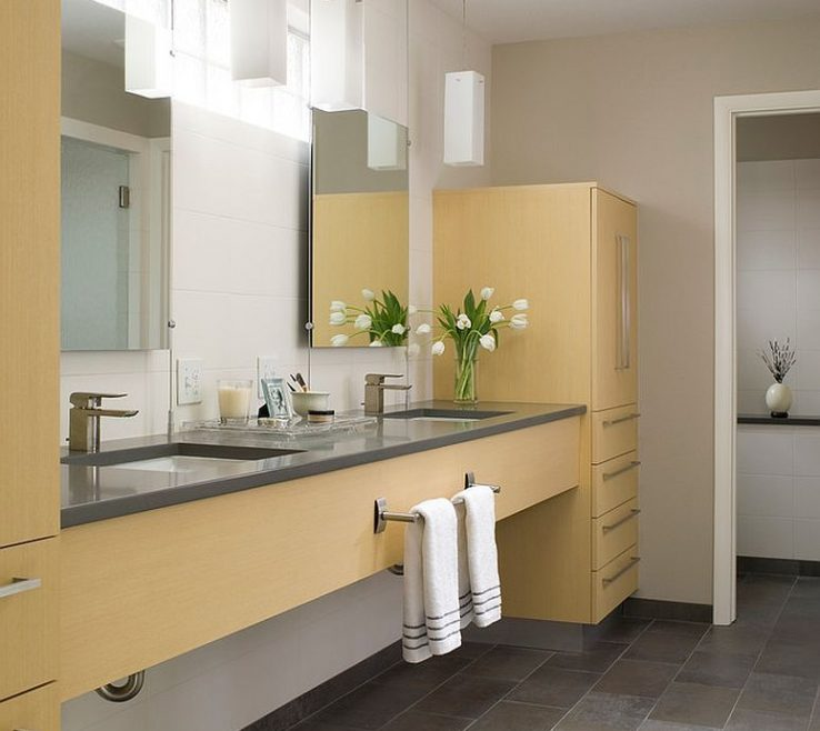 Alluring Yellow Bathrooms Of Trendy And Refreshing: Gray And That Delight
