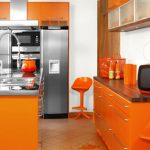 Amazing Orange Kitchen S Of Superbealing With Large Stand Floor Refrigator Furnished