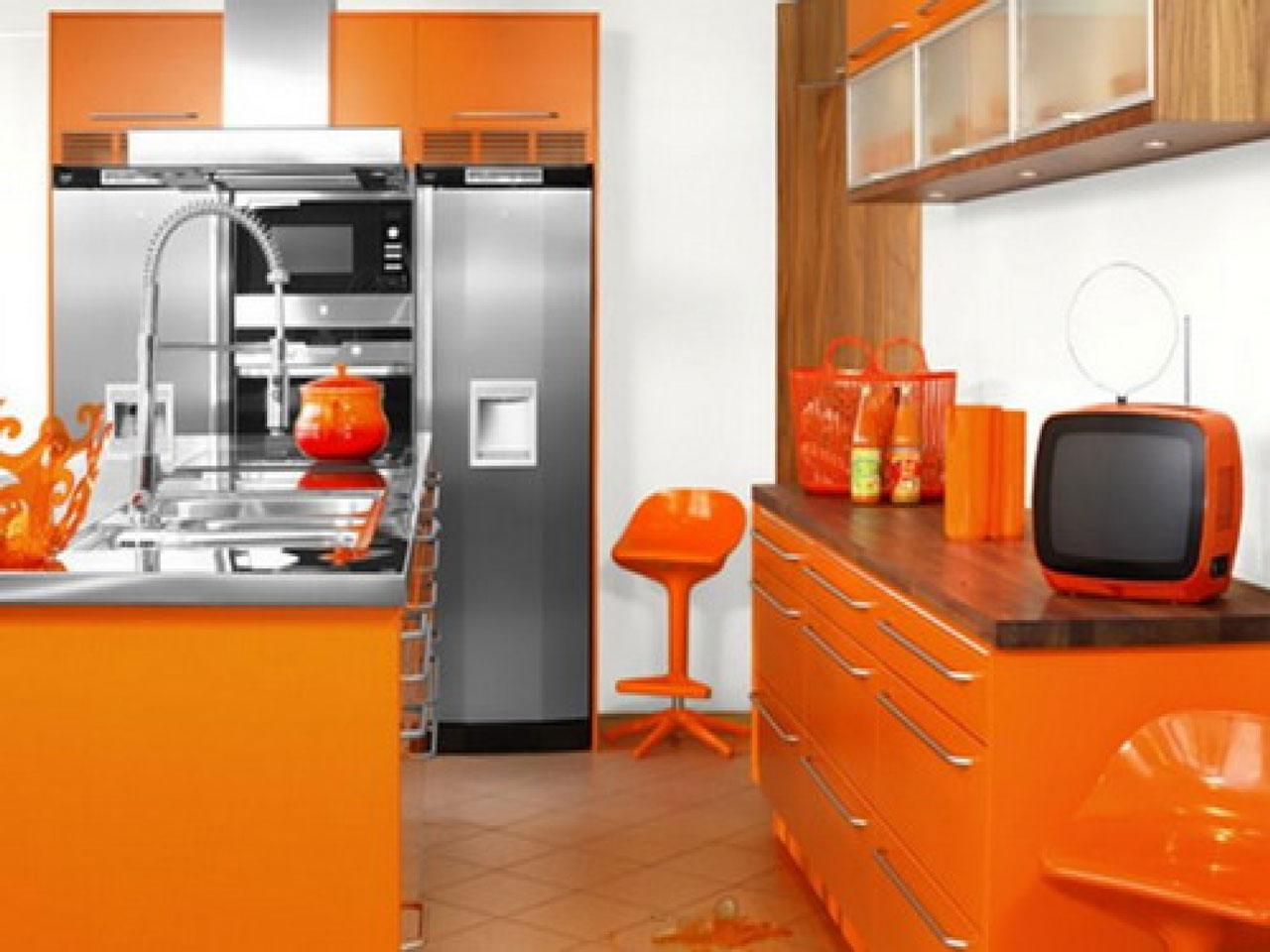 Amazing Orange Kitchen S Of Superbealing With Large Stand Floor Refrigator Furnished