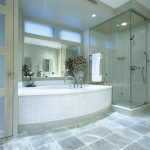Artistic Glass Floor Tile Bathroom
