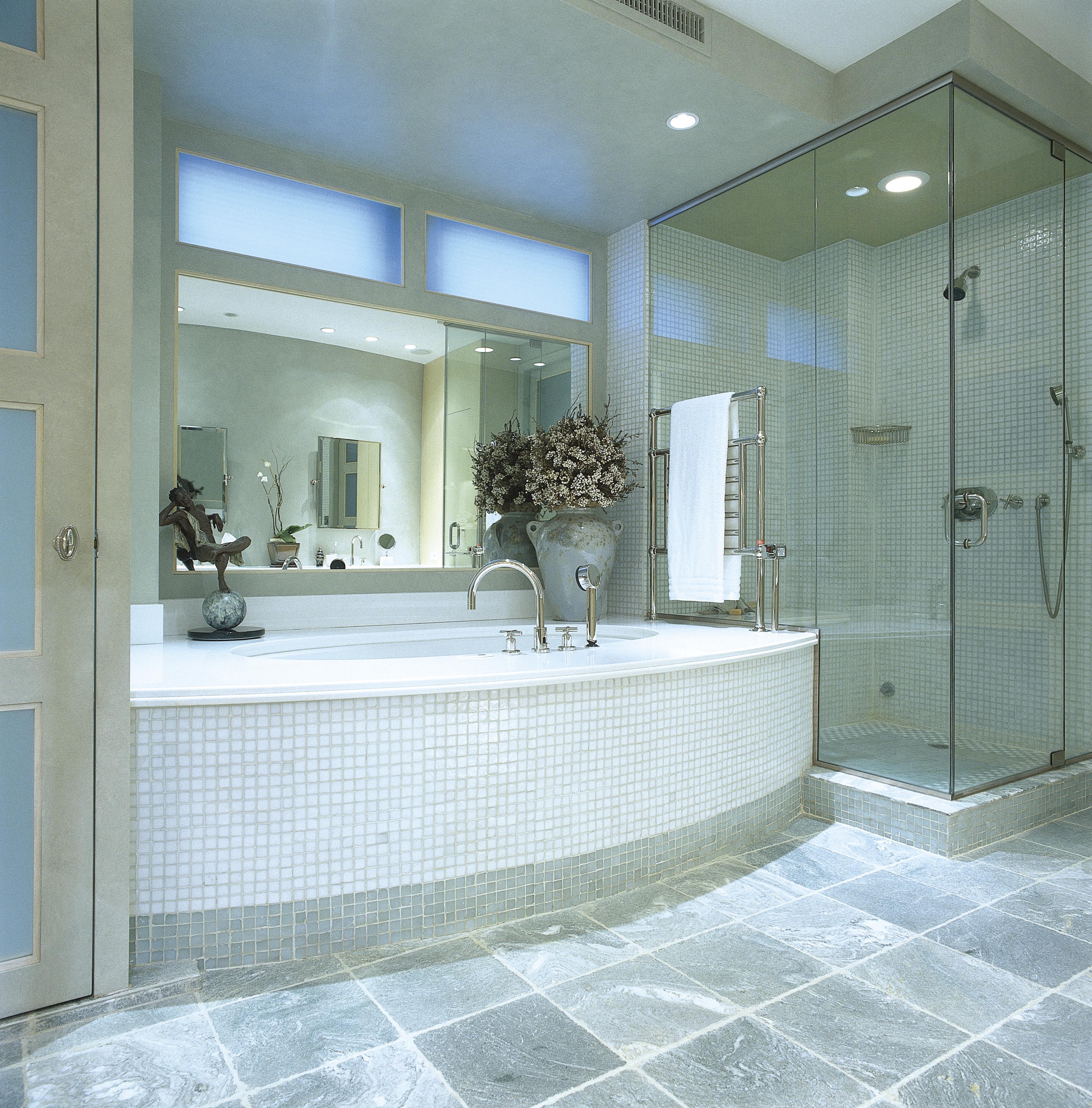 Artistic Glass Floor Tile Bathroom