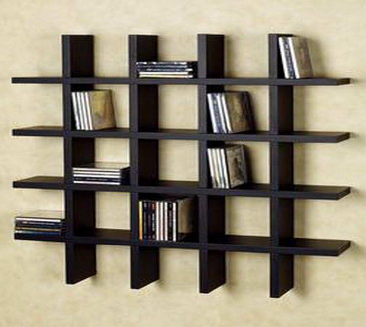 Astonishing Unique Shelving Units Of Black Polished Solid Wood Wall Bookshelf