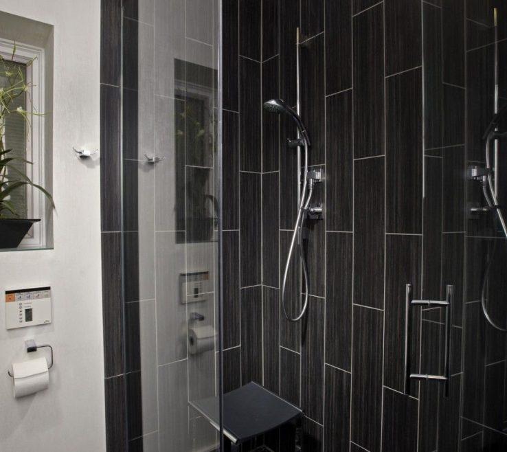 Astounding Clear Glass Floor Tile Of Bathroom. Black Vertical Subway Corner Shower Design