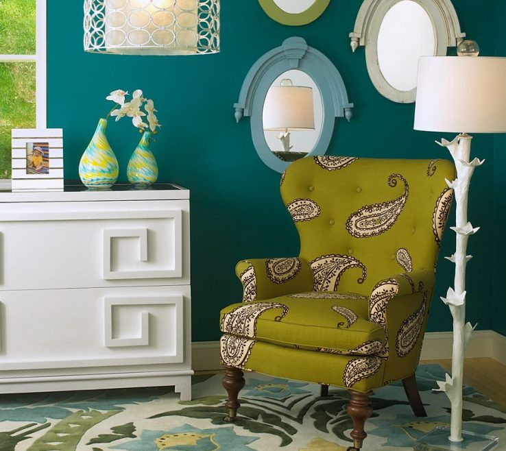 Astounding Green And Turquoise Decor Of Dark Teal Walls Accented By E, Aqua