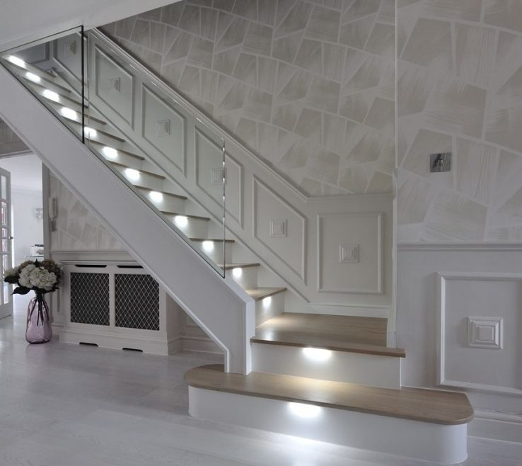 Attractive Modern Staircase Lighting Of An Ultra Modern In Light Oak With Led