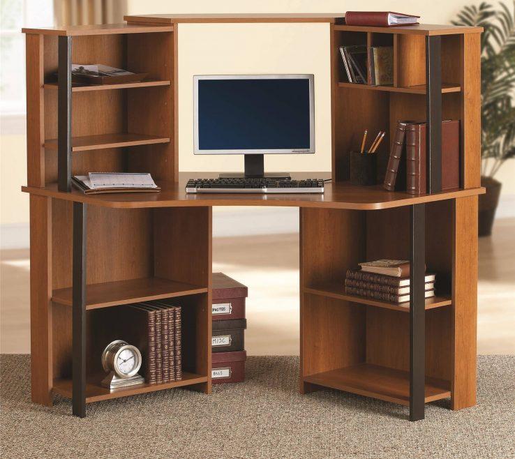 Bedroom Office Desk Puter Student Corner Workstation Furniture Cherry Black