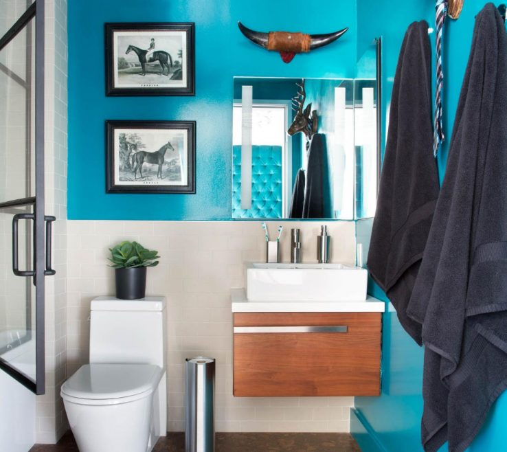 Best Modern Bathroom Of Small With Bold Teal Walls, Floating Vanity
