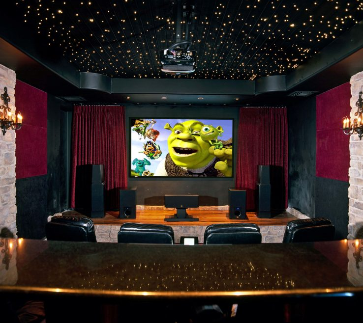 Brilliant Ideas For Theater Room Of Large Screen On The Dark Gray