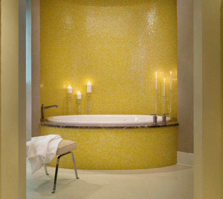 Brilliant Yellow Bathrooms Of Glass Tile That Glimmers Master Bathroom