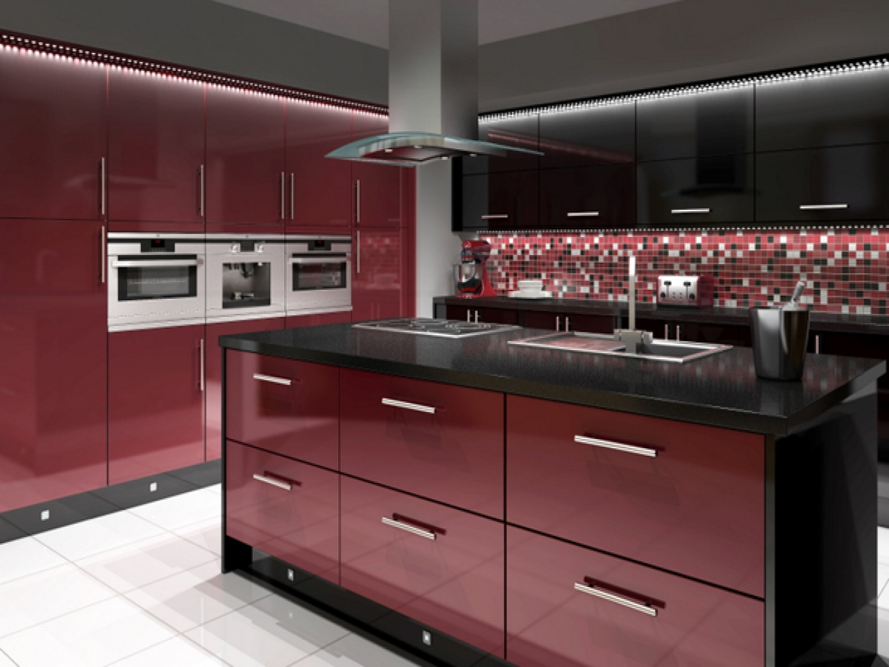 Black And Red Kitchen Design - ACNN DECOR