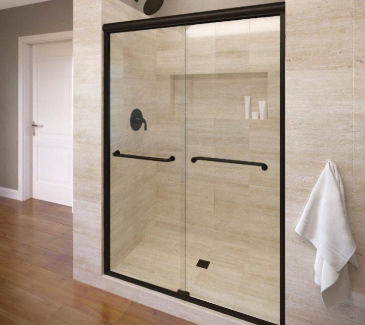 Captivating Clear Glass Floor Tile Of Semi Frameless Sliding Aquaglidexp Shower