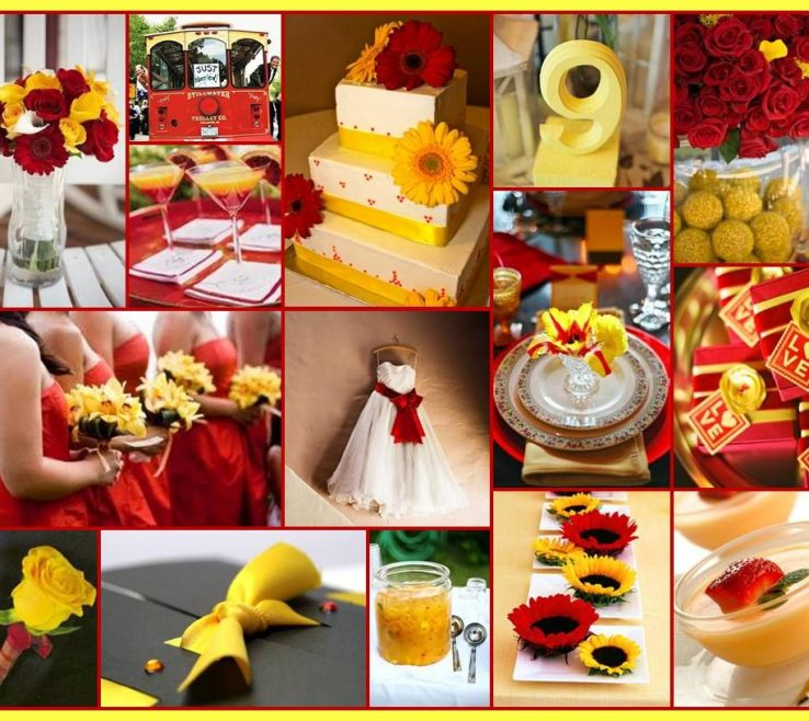 Captivating Red And Yellow Decor Of A Perfect Cardinal Gold Wedding For When