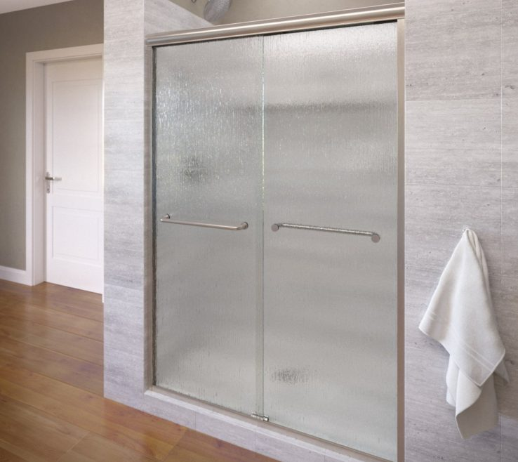 Captivating Wood Shower Door Of Basco Infinity Frameless Sliding Door, Fits 56 58.5