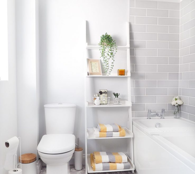 Captivating Yellow Bathrooms Of Grey And Bathroom Makeover Featuring Ladder Shelves