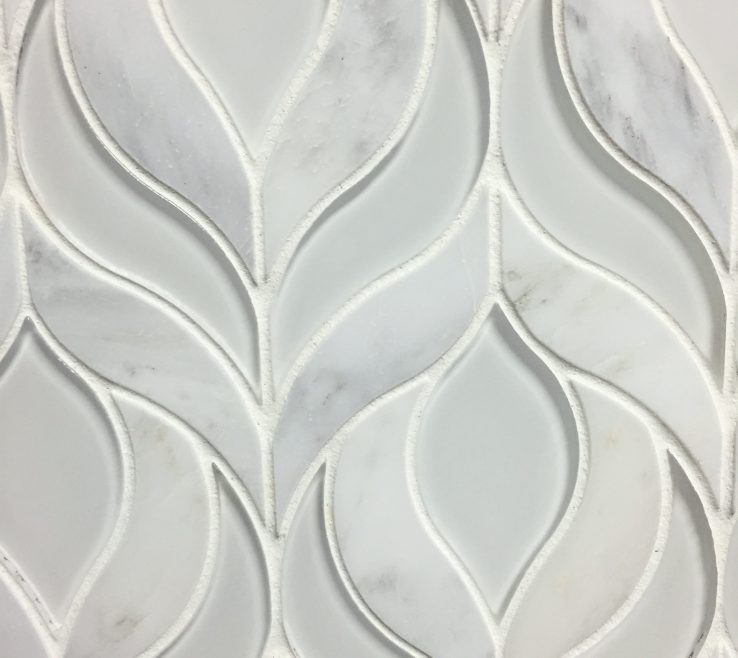 Clear Glass Floor Tile Of Arabescato Marble And White Waterjet Mosaic