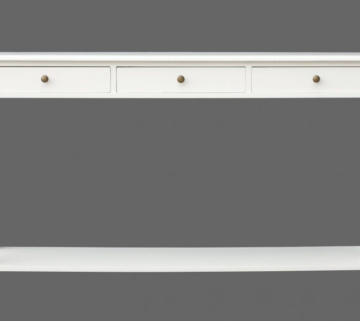 Contemporary Console Table With Drawers Of White Stained Design Feature 3 Storage Drawer