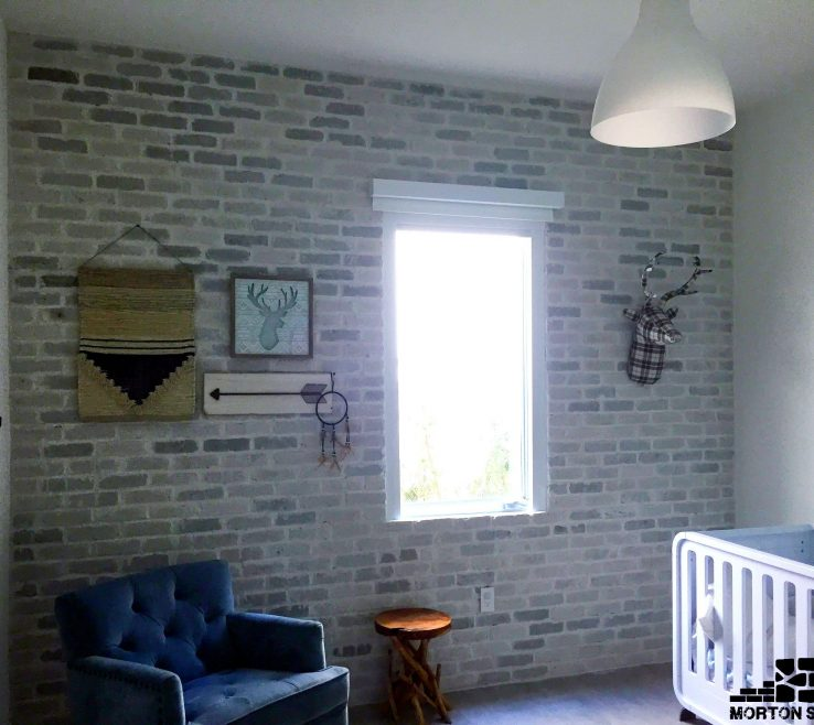 Cool Interior Brick Wall Tiles Of A Whitewashed Veneer In A Child