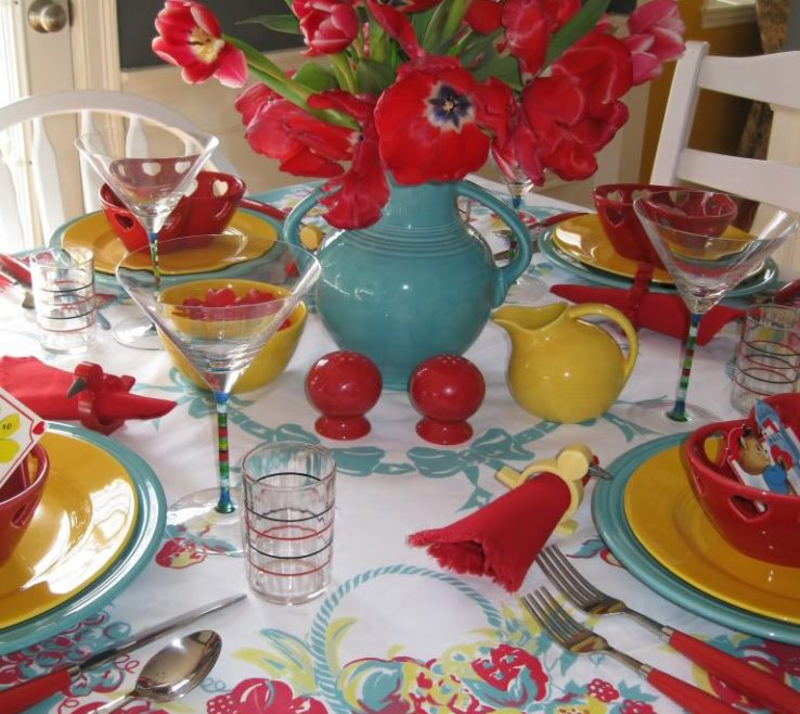 Elegant Red And Yellow Decor Of Kitchen Colors Love The Turquoise !