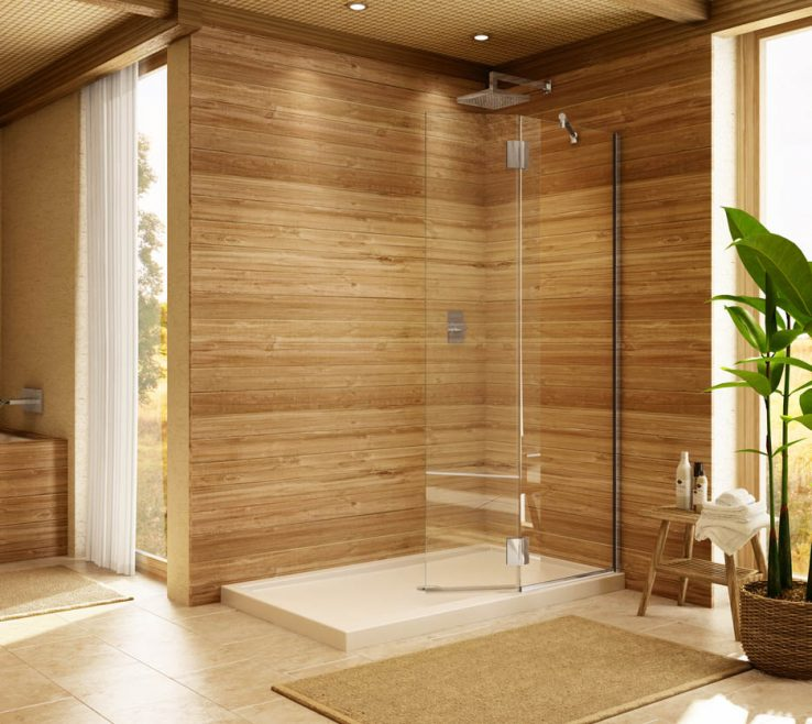 Elegant Wood Shower Door Of Enclosures And Doors