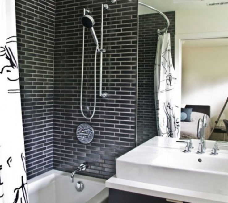 Enchanting Interior Brick Wall Tiles Of Black For Modern Luxury Bathroom Design