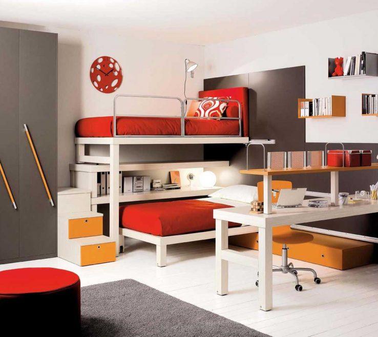 Enchanting Modern Kids Storage Of Bedroom Decorating Ideas Desk Connected Book Shelves