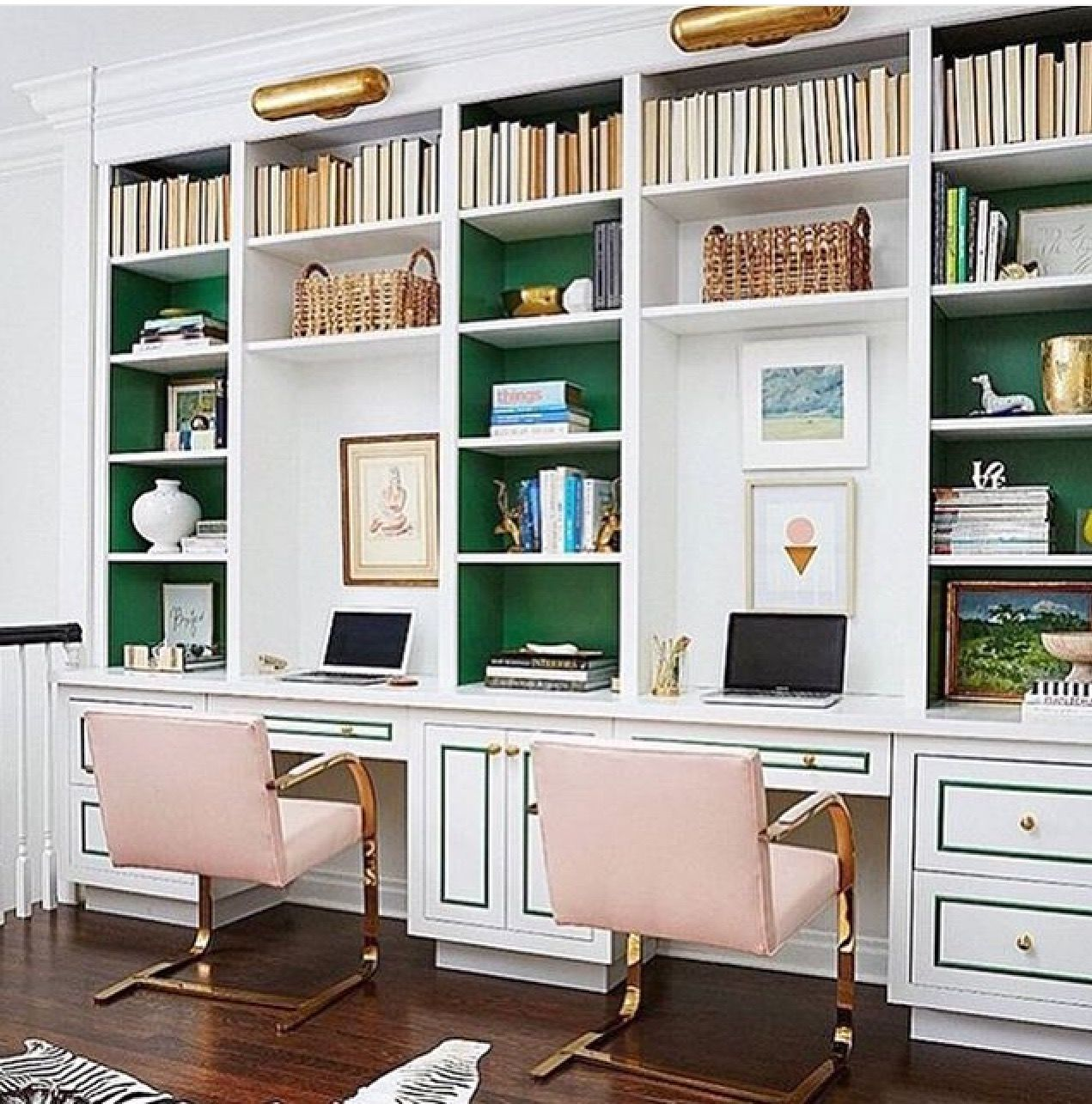 Endearing Home Office Built Ins Of Pop Of Green, Painted