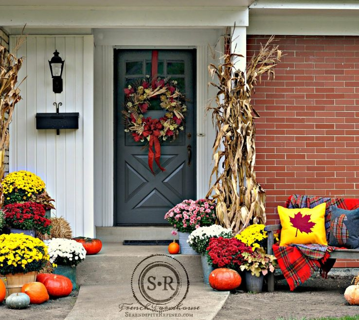 Endearing Red And Yellow Decor Of Gray Fall Porch