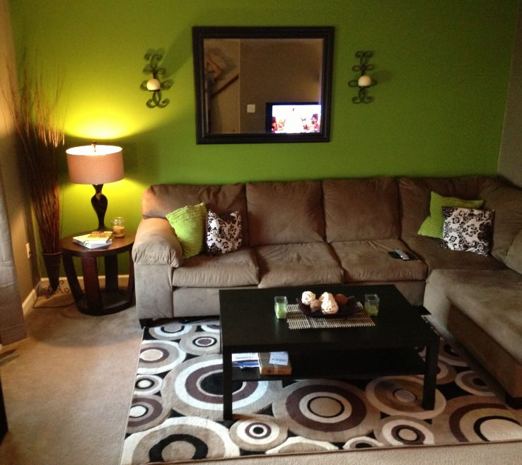 Enthralling Brown Decor Of Green And Living Room