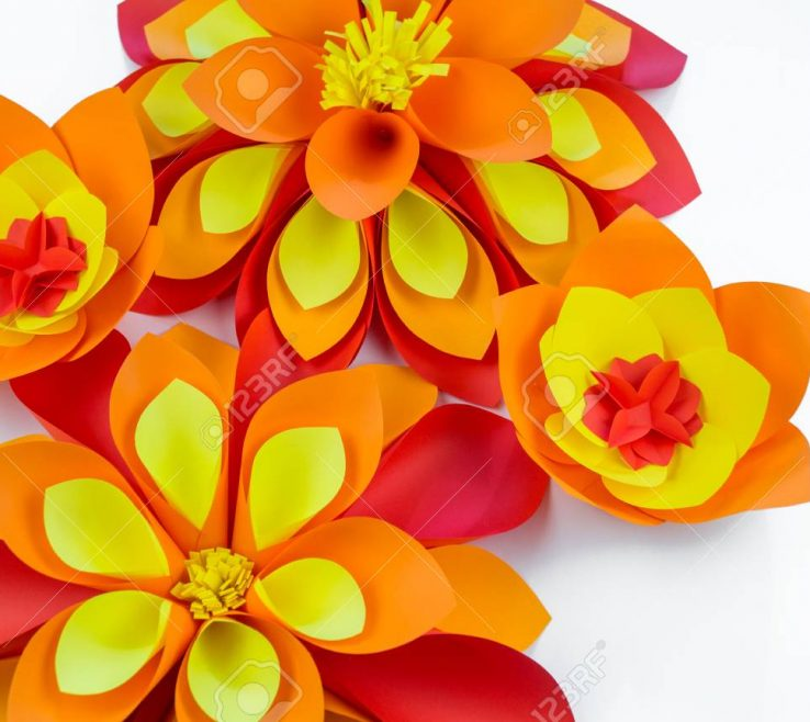 Enthralling Red And Yellow Decor Of A Large Flower Made Of Paper Orange Red