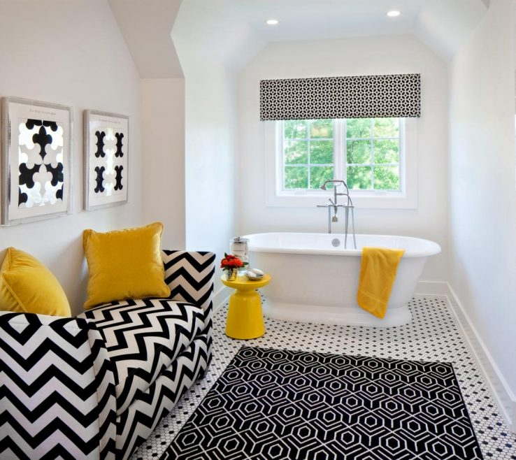 Enthralling Red And Yellow Decor Of Black White Bathroom Ideas