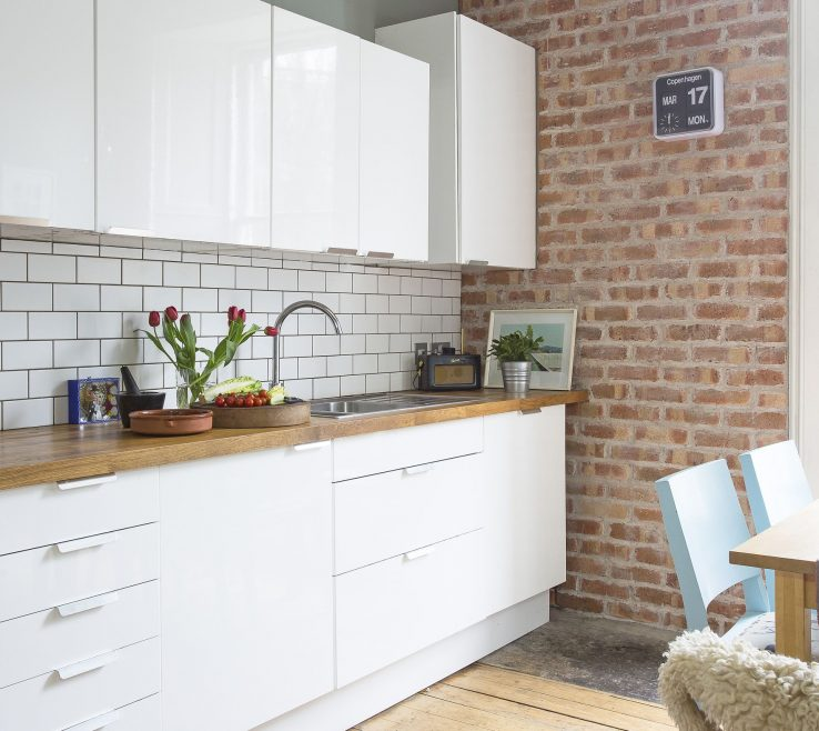Exquisite Interior Brick Wall Tiles Of White Gloss Kitchen Units By Ikea, Slip