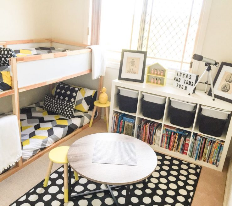 Extraordinary Childrens Storage Beds For Small Rooms Of Shared Boys Geometrical Bedroom. Kids Room