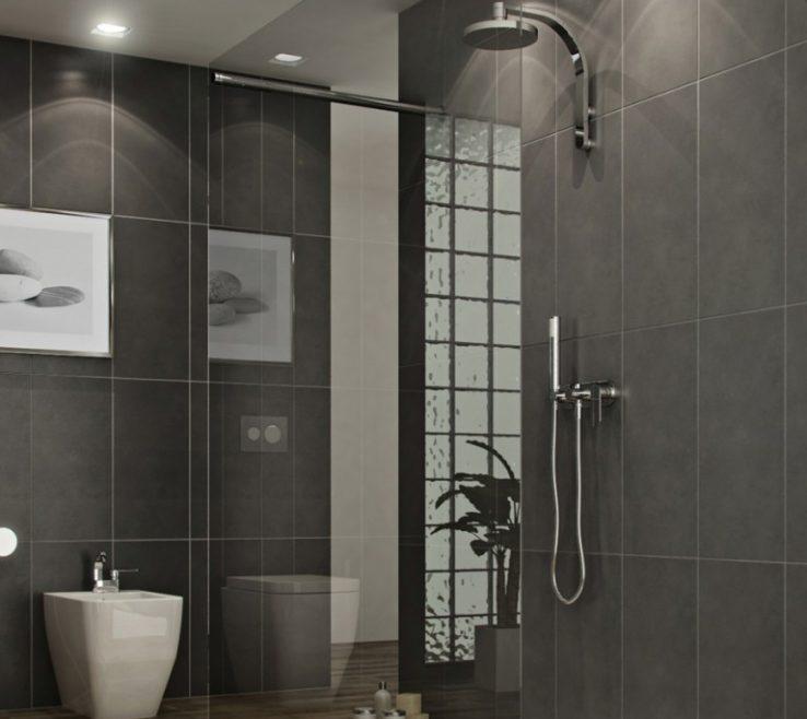 Eye Catching Modern Bathroom Showers Of Dark Tile Wall Cool Shower