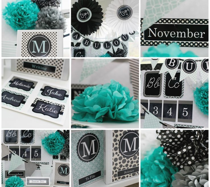 Green And Turquoise Decor Of Black Gray Classroom Theme By Schoolgirl Style