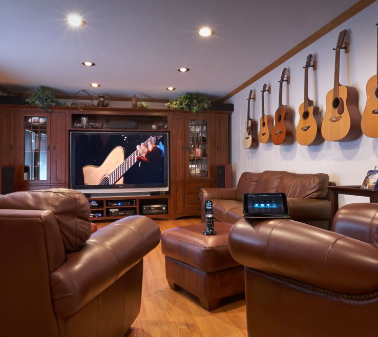 Ideas For Theater Room Of Excellent Small Home With Guitar Decor And