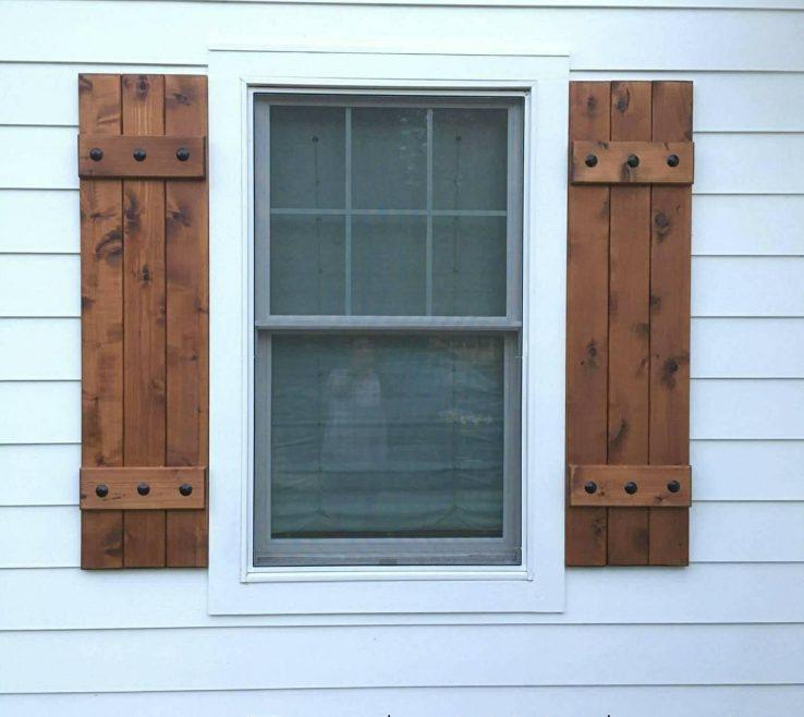 Impressing Rustic Wood Shutters Of Exterior Cedar Board