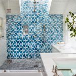 Impressive Glass Floor Tile Bathroom Of Blue Patterned Accent Wall In Door