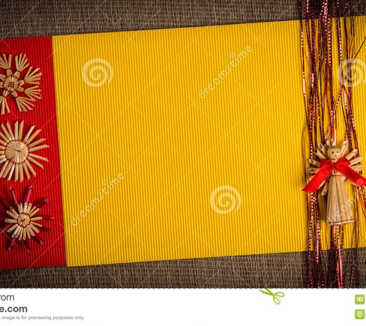 Impressive Red And Yellow Decor Of Background For Christmas Greeting Card Holiday Straw