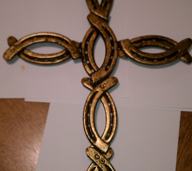 Ing Metal Craft Ideas Of Cross Painted Black With Gold Trim Welding