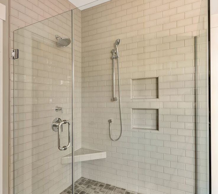 Interior Design For Clear Glass Floor Tile Of Walk In Master Shower With Fully Tiled
