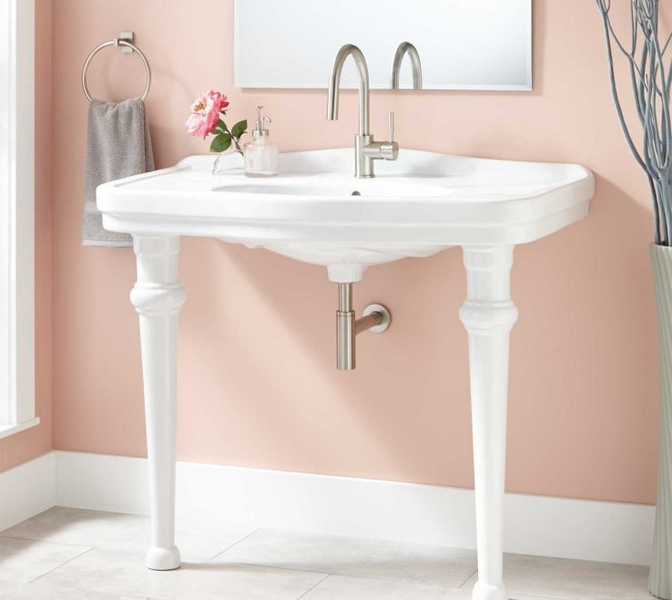 Interior Design For Space Saving Vanity Of Console Bathroom Sink Single Hole Whiteh Sinks