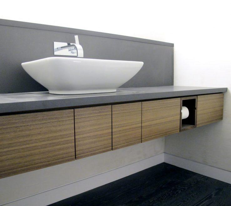 Interior Design For Space Saving Vanity Of White Porcelain Vessel Washbasin Over Grey Ganite